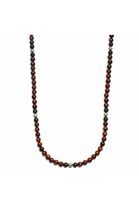 Red Tiger Eye Silver Necklace