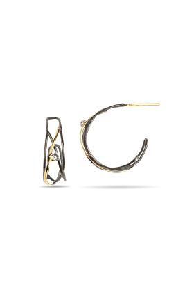 Sterling Silver & 18kt Yellow Gold Galaxy Hoop Earrings