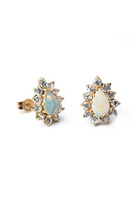 9kt Yellow Gold Pear Shaped Opal Cluster Earrings