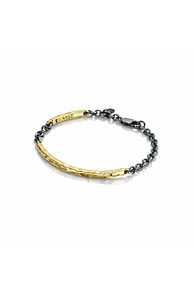Yellow Gold Beaten Bangle with Oxidised Silver Chain | Becky Rowe