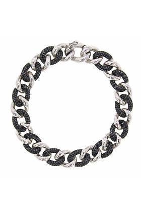 Rhodium Plated Sterling Silver Essential Black & White Link Bracelet
