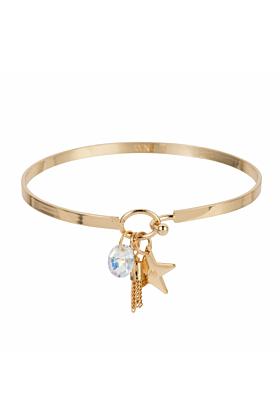 Brass Gold Star Cluster Bangle
