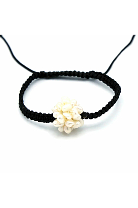 Shamballa Cluster Pearl Cord Bracelet
