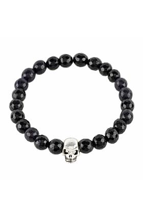 Skull Bracelet Sterling Silver Black Onyx