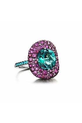 18kt Rose Gold Superstars Ring With Tourmaline & Diamonds
