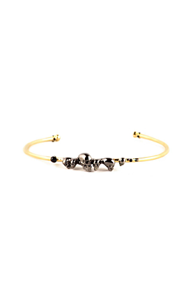 Gold & Ruthenium Chattering Skull Bangle