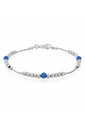 Sterling Silver & Dark Blue Opal Bracelet