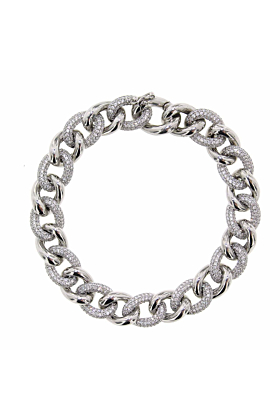 Rhodium Plated Sterling Silver Essential Pave Link Bracelet