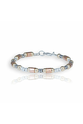 Oxidized Sterling Silver, Gold & Rose Gold Bracelet