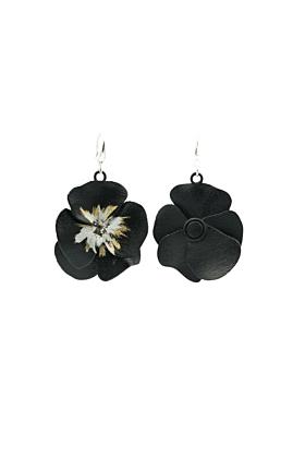 Black Violet Painted Earrings