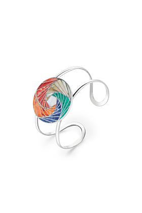 Sterling Silver Mosaic Modern Spiral Cuff
