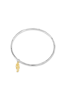 Sterling Silver Seahorse Bracelet with Gold Charm