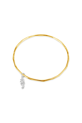 Yellow Gold Plated Seahorse Bracelet with Silver Charm
