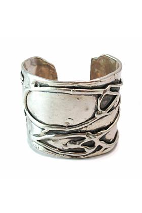 Large Byzantine Oxidized Silver Cuff