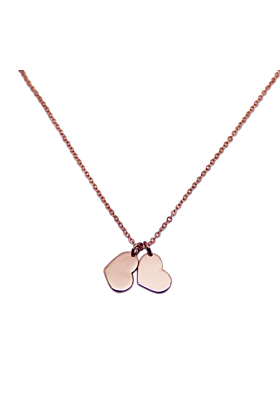 9kt Rose Gold Double Little Heart Necklace