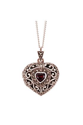 Rose Gold Vermeil Garnet Vintage Heart Locket