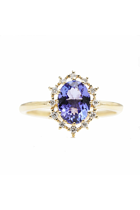 14kt Gold Natural Oval Tanzanite Engagement Ring