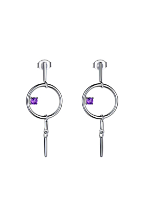 Sterling Silver Geometric Dangle Earrings With Amethyst