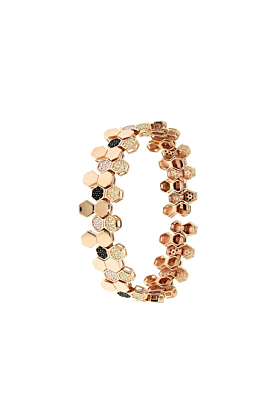 Rose Gold Plated Sterling Silver Honeycomb Bee Bracelet