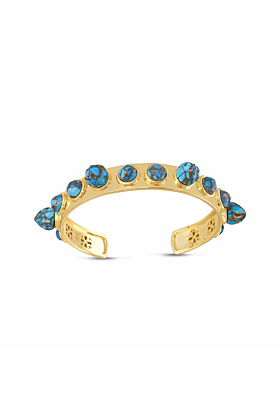 Yellow Gold Plated Sea Breeze Turquoise Cuff