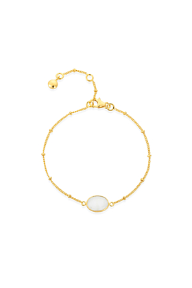 Yellow Gold Plated Pollara Moonstone Bracelet