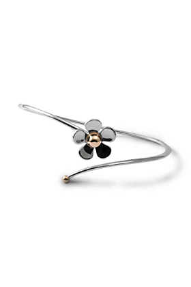 Silver & 9kt Yellow Gold Daisy Bangle