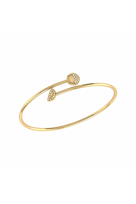 14kt Yellow Gold Plated Moon Stages Bangle
