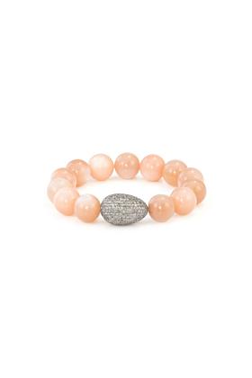 Sterling Silver Peach Moonstone Diamond Egg Bracelet