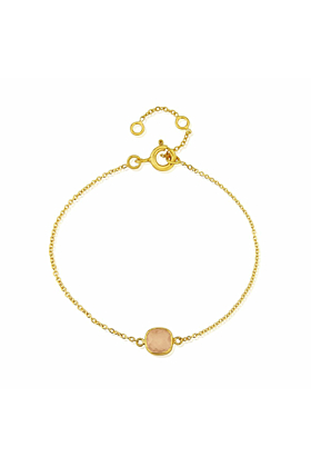 Yellow Gold Plated Brooklyn Rose Quartz Bracelet