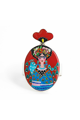 Frida Inspired Sterling Silver Statement Bracelet with Cloisonn Enamel
