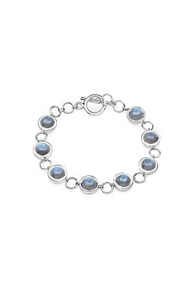 Rhodium Plated Silver Labradorite Link Bracelet