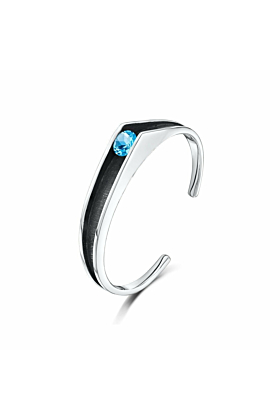 Sterling Silver & Swiss Blue Topaz Contrast Bangle | Becky Rowe