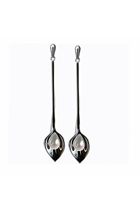 Sterling Silver Large Long Lily Pearl Drop Earrings