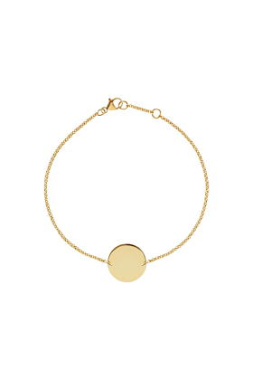18kt Yellow Gold Vermeil Simple Disc Bracelet