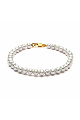 Classic 14kt Gold Grey Pearl Bracelet