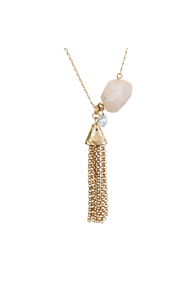 Yellow Gold Plated Rose Opal Nugget Necklace