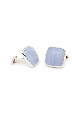 18kt White Gold And Chalcedony Cufflinks