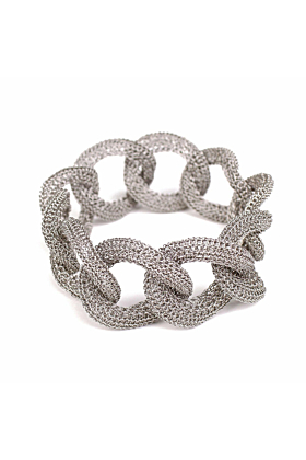 Goddess Light Link Twist White Gold Bracelet