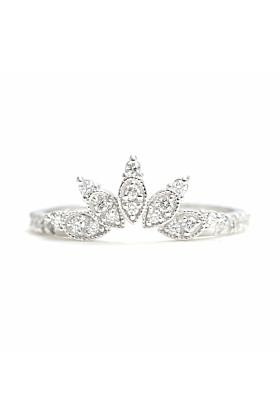 14kt Gold Diamond Big Straight Crown Wedding Band With Diamond