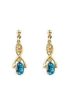 9kt Yellow Gold Oval Blue Topaz Drop Earrings