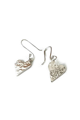 Silver Small Hammered Heart Earrings