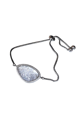 Rhodium Plated Abstract Halo Bracelet With White CZ Stone
