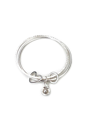 Silver Double Bangle With Charms