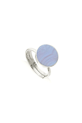 Sterling Silver Moondance Blue Lace Agate Adjustable Ring