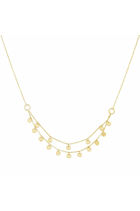 Gold Grace Double Strand Disc Necklace