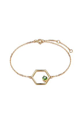 Gold Vermeil Linear Bracelet With Diopside