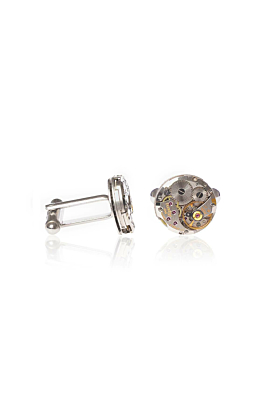 Silver Plated Brass Vintage Alpina Round Skeleton Cufflinks