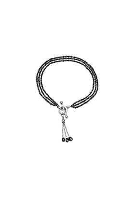 Exclusive 3 Row Black Diamond Bracelet With Tassel