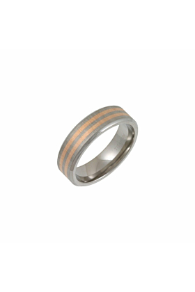 Titanium Flat Court Shape Wedding Ring With Two 9kt Rose Gold Bands