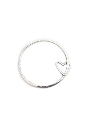 Sterling Silver Beautifully Simple Heart Bangle